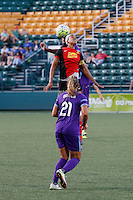 Rochester, NY - Saturday June 11, 2016: Western New York Flash forward Jessica McDonald (14), Orlando Pride defender Monica Hickman Alves (21) during a regular season National Women's Soccer League (NWSL) match between the Western New York Flash and the Orlando Pride at Rochester Rhinos Stadium.