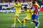 Bruno Soriano and Alvaro Gonzalez of Villarreal holds off pressure from  Fernando Torres of Atletico de Madrid during the match of La Liga between Atletico de Madrid and Villarreal at Vicente Calderon  Stadium  in Madrid, Spain. April 25, 2017. (ALTERPHOTOS/Rodrigo Jimenez)