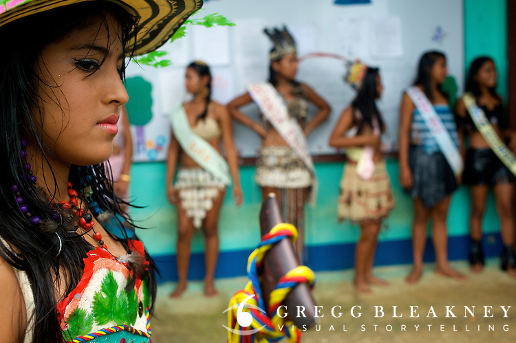 A young woman participates in her school beauty pageant - Puerto Narino - Amazonas - Colombia