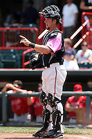 Erie Seawolves catcher Bryan Holaday #12 during a game against the Reading Phillies at Jerry Uht Park on May 29, 2011 in Erie, Pennsylvania.  Erie defeated Reading 6-5 in ten innings.  Photo By Mike Janes/Four Seam Images