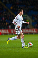 Wednesday 05 March 2014<br /> Pictured:Gareth Bale runs forwards with the ball <br /> Re: International friendly Wales v Iceland at the Cardiff City Stadium, Cardiff,Wales UK