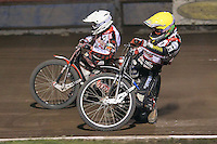 Heat 12: Patrick Hougaard (yellow) and Linus Sundstrom - Lakeside Hammers vs Peterborough Panthers - Sky Sports Elite League Speedway at Arena Essex Raceway, Purfleet - 14/09/12 - MANDATORY CREDIT: Gavin Ellis/TGSPHOTO - Self billing applies where appropriate - 0845 094 6026 - contact@tgsphoto.co.uk - NO UNPAID USE.