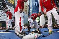 NEW YORK - OCT 29: The Flying Ace All Stars perform. Olympic athletes participate in 100 Days to Sochi, a promotional event for the US Olympic Team, on Tuesday, October 29, 2013 in New York City. (Photo by Landon Nordeman)