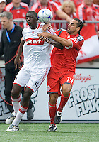 16 May 09: Chicago Fire defender Bakary Soumare #4 and Toronto FC midfielder Dewayne DeRosario #14 in action at BMO Field in a game between the Chicago Fire and Toronto FC..Chicago Fire won 2-0..