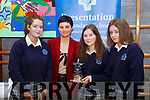 Lisa Henchy (Bank of Ireland, Castleisland) presents the winners of the Intermediate Entrepreneurs award at the Castleisland Presentation Secondary school for their Armour Wear and Tear project.  L-r, Sarah O'Mahoney (Castleisland), Lisa Henchy (Bank of Ireland Castleisland), Amy Walsh (Knocknagoshel) and Ciara Sheehan (Castleisland),