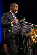 Washington, DC - January 2, 2015: Karl Racine, Attorney General of the District of Columbia, delivers his speech after taking the oath of office during the 2014 inauguration ceremony held at the Washington Convention Center, January 2, 2015. Racine is the first elected Attorney General in the history of the District of Columbia government.  (Photo by Don Baxter/Media Images International)