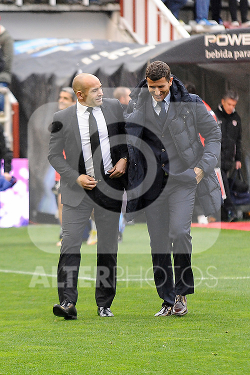 Rayo Vallecano´s coach Paco Jemez and Malaga CF´s coach Javier Gracia Carlos during 2014-15 La Liga match between Rayo Vallecano and Malaga CF at Rayo Vallecano stadium in Madrid, Spain. March 21, 2015. (ALTERPHOTOS/Luis Fernandez)