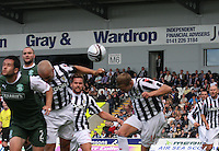 Tim Clancy with a glancing header in the St Mirren v Hibernian Clydesdale Bank Scottish Premier League match played at St Mirren Park, Paisley on 18.8.12.