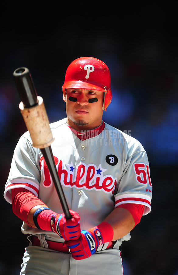 Apr. 27, 2011; Phoenix, AZ, USA; Philadelphia Phillies catcher Carlos Ruiz against the Arizona Diamondbacks at Chase Field. Mandatory Credit: Mark J. Rebilas-