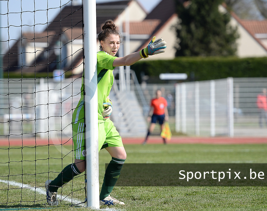 20150406 - OZOIR , FRANCE  : Romanian goalkeeper Camelia Ceasar  pictured during the soccer match between Women Under 19 teams of France and Romania , on the second matchday in group 3 of the UEFA Elite Round Women Under 19 at Stade des 3 Sapins , Ozoir La Ferriere , France . Monday 6th April 2015 . PHOTO DAVID CATRY