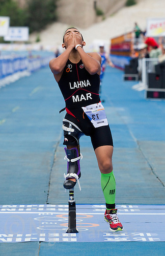 09 SEP 2011 - BEIJING, CHN - Mohamed Lahna (MAR) celebrates taking the silver medal in the men's TRI-2 category at the 2011 ITU World Paratriathlon Championships (PHOTO (C) NIGEL FARROW)