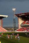 Barnsley 1 Millwall 0, 22/02/2014. Oakwell, Championship. Millwall make the journey from south London to South Yorkshire for a Championship relegation battle with Barnsley. The floodlights are on early in the second half at Oakwell.  Photo by Simon Gill.