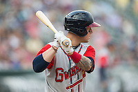 Brandon Snyder (7) of the Gwinnett Braves at bat against the Charlotte Knights at BB&T BallPark on May 22, 2016 in Charlotte, North Carolina.  The Knights defeated the Braves 9-8 in 11 innings.  (Brian Westerholt/Four Seam Images)