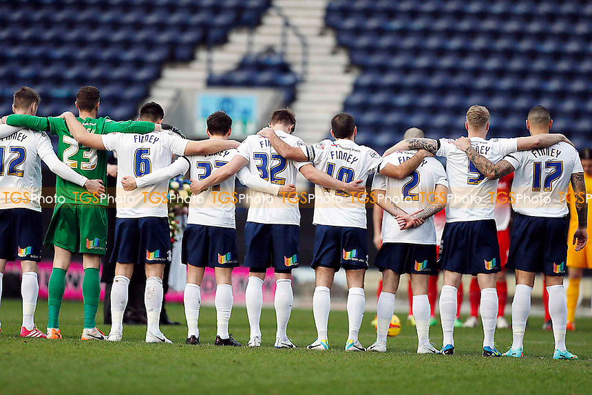 PNE players all in Sir Tom Finney shirts<br /> Preston NE v Leyton Orient  - SkyBet League One Football at the Deepdale Stadium Preston Lancashire 15/02/14 - MANDATORY CREDIT SIMON O'CONNOR -Self Billing applies where appropiate 01376 553468 contact@tgsphoto.co.uk - NO UNPAID USE