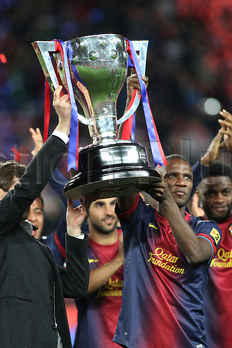 19.05.2013 Barcelona, Spain. Eric Abidal during the during the celebration of the league championship 2012/13 at the Nou Camp