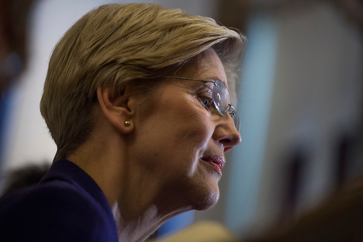 UNITED STATES - MARCH 14: Sen. Elizabeth Warren, D-Mass., conducts a news conference after the Senate Policy luncheons in the Capitol, March 14, 2017. (Photo By Tom Williams/CQ Roll Call)