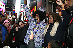 DJ Jon Quck and Nunu at the Soul Train Line Flash Mob in Memory of Don Cornelius, Times Square NY 2/4/12