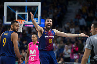 FC Barcelona Lassa Adam Hanga and Pierre Oriole protest to referee during Liga Endesa match between Estudiantes and FC Barcelona Lassa at Wizink Center in Madrid, Spain. October 22, 2017. (ALTERPHOTOS/Borja B.Hojas) /NortePhoto.com