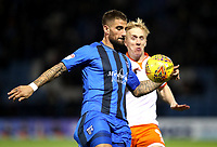 Gillingham's Brandon Hanlan and Blackpool's Mark Cullen<br /> <br /> Photographer Rachel Holborn/CameraSport<br /> <br /> The EFL Sky Bet League One - Gillingham v Blackpool - Tuesday 6th November 2018 - Priestfield Stadium - Gillingham<br /> <br /> World Copyright &copy; 2018 CameraSport. All rights reserved. 43 Linden Ave. Countesthorpe. Leicester. England. LE8 5PG - Tel: +44 (0) 116 277 4147 - admin@camerasport.com - www.camerasport.com