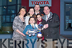 OVERALL WINNER: Maria Daly, Scoil Eoin, Balloonagh, overall winner of the 'Toyota Car of the Future' prize being presented with her award and a model car from Tim Kelliher, proprietor of Kellihers Toyota Dealers, Rathass, Tralee. Also in picture are Marie's parents and teacher, Laura Daly, Claire Daly, Neilus and Angela Daly and Judy Costello, deputy principal.   Copyright Kerry's Eye 2008