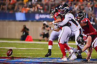 Canton, Ohio - August 1, 2019: Denver Broncos linebacker A.J. Johnson #45 breaks up a pass attempt by Atlanta Falcons quarterback Kurt Benkert #6 during a pre-season game at the Tom Benson Hall of Fame stadium in Canton, Ohio August 1, 2019. This game marks start of the 100th season of the NFL. (Photo by Don Baxter/Media Images International)
