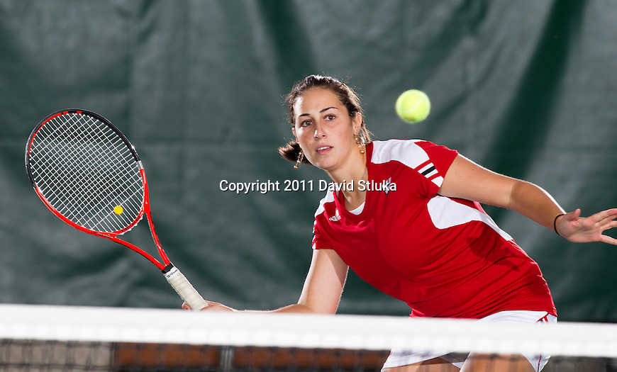 Wisconsin Badgers Angela Chupa hits the ball during a photo shoot at the Nielsen Tennis Center on September 26, 2011. (Photo by David Stluka).