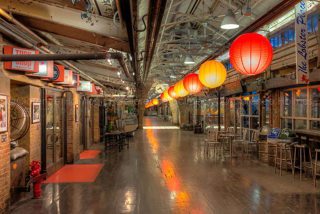 The interior of Chelsea Market in the Chelsea neighborhood of Manhattan in New York City, New York
