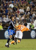 Jason Hernandez (21) battles for the header against Dynamo's Kei Kamara.San Jose Earthquakes tied Houston Dynamo 1-1 at Buck Shaw Stadium in Santa Clara, California. September 13, 2008.