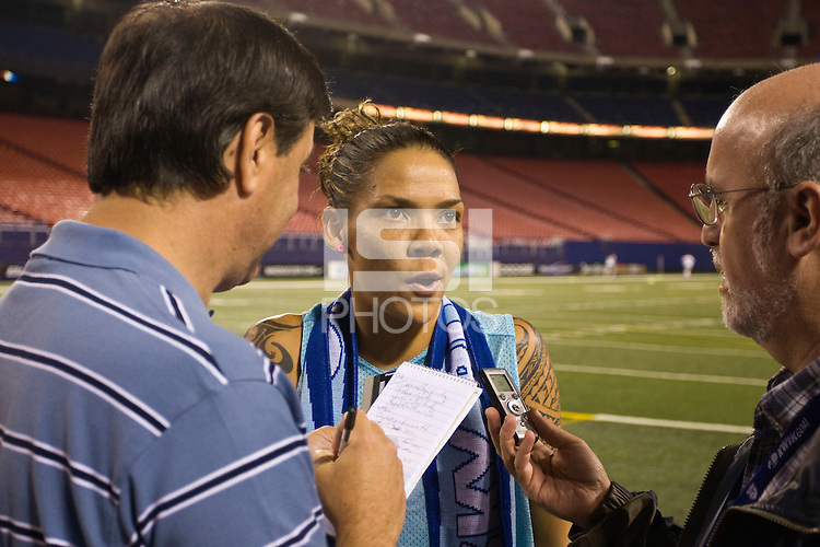 United States (USA) forward Natasha Kai (6) is interviewed by the media after the game. The women's national team of the United States (USA) defeated the Republic of Ireland (IRL) 1-0 during an international friendly at Giants Stadium in East Rutherford, NJ on September 17, 2008. Photo by Howard C. Smith/isiphotos.com
