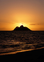 Sunrise seen from Lanikai Beach, Oahu, Hawaii