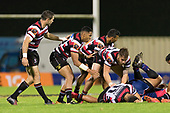 Steelers backs Stephen Donald, Nigel Ah Wong and Albert Nikoro protect the ruck area for Liam Daniela. Mitre 10 Cup game between Counties Manukau Steelers and Tasman Mako's, played at ECOLight Stadium Pukekohe on Saturday October 14th 2017. Counties Manukau won the game 52 - 30 after trailing 22 - 19 at halftime. <br /> Photo by Richard Spranger.