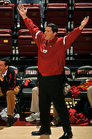 18 January 2008: Head coach John Kosty during Stanford's 3-1 win over USC at Maples Pavilion in Stanford, CA.