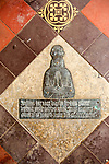 Brass memorial on floor inside church of Saint Nicholas, Berwick Bassett, Wiltshire, England, UK