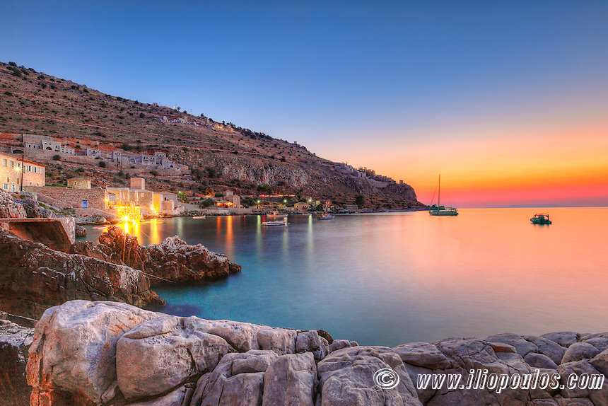 Sunset at Limeni in Mani, Greece