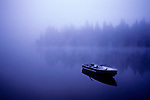 Row boat on Lake Mason, sunrise in fog, Olympic Penninsula, Washington State USA..
