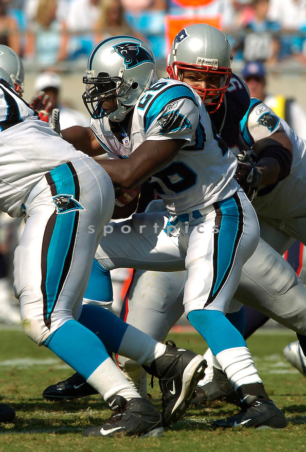 DeShaun Foster, of the Carolina Panthers, during their game against the New England Patriots on September 18, 2005...Carolina win 27-17..David Durochik / SportPics