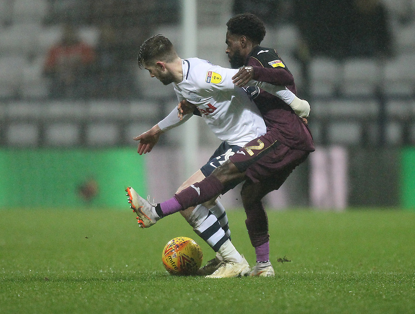 Preston North End's Tom Barkuizen Swansea City's Nathan Dyer<br /> <br /> Photographer Mick Walker/CameraSport<br /> <br /> The EFL Sky Bet Championship - Preston North End v Swansea City - Saturday 12th January 2019 - Deepdale Stadium - Preston<br /> <br /> World Copyright © 2019 CameraSport. All rights reserved. 43 Linden Ave. Countesthorpe. Leicester. England. LE8 5PG - Tel: +44 (0) 116 277 4147 - admin@camerasport.com - www.camerasport.com