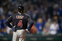 Cleveland Indians Coco Crisp (4) on first base in the seventh inning during Game 3 of the Major League Baseball World Series against the Chicago Cubs on October 28, 2016 at Wrigley Field in Chicago, Illinois.  (Mike Janes/Four Seam Images)
