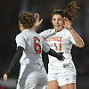 Alexa Verni #6 of Patchogue-Medford, left, gets congratulated by Grace Syron #11 of Southold after scoring a goal in Game 1 of two Long Island varsity girls soccer senior all-star games at Farmingdale State College on Friday, Nov. 24, 2017.