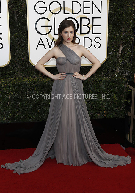 www.acepixs.com<br /> <br /> January 8 2017, LA<br /> <br /> Anna Kendrick arriving at the 74th Annual Golden Globe Awards at the Beverly Hilton Hotel on January 8, 2017 in Beverly Hills, California.<br /> <br /> By Line: Famous/ACE Pictures<br /> <br /> <br /> ACE Pictures Inc<br /> Tel: 6467670430<br /> Email: info@acepixs.com<br /> www.acepixs.com