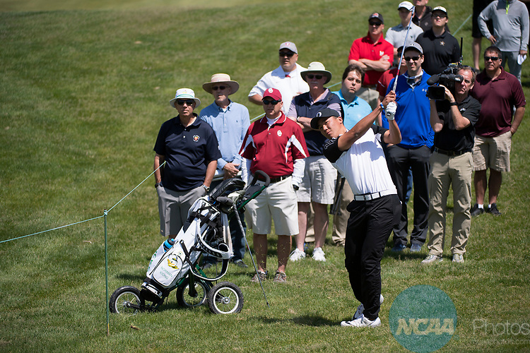 SUGAR GROVE, IL - MAY 31: Norman Xiong of the University of Oregon hits an approach shot during the Division I Men's Golf Team Championship held at Rich Harvest Farms on May 31, 2017 in Sugar Grove, Illinois. Oklahoma won the team national title. (Photo by Jamie Schwaberow/NCAA Photos via Getty Images)