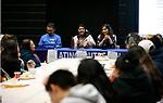From left, German Fernandez, Karen Martinez and Nancy Manriquez speak to the crowd at the La Posada Celebration at Western Nevada College, in Carson City, Nev., on Saturday, Dec. 15, 2018. <br /> Photo by Cathleen Allison/Nevada Momentum
