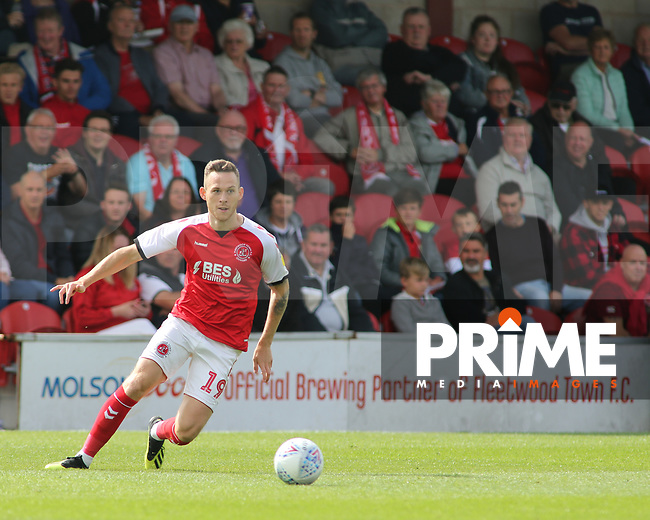 Gethin Jones of Fleetwood Town during the Sky Bet League 1 match between Fleetwood Town and Rochdale at Highbury Stadium, Fleetwood, England on 18 August 2018. Photo by Stephen Gaunt / PRiME Media Images.
