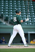 Catcher Adam Proctor (28) of the Michigan State Spartans bats in a game against the Merrimack Warriors on Saturday, February 22, 2020, at Fluor Field at the West End in Greenville, South Carolina. Merrimack won, 7-5. (Tom Priddy/Four Seam Images)