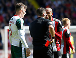Leon Clarke of Sheffield Utd argues his red card during the Championship League match at Bramall Lane Stadium, Sheffield. Picture date 19th August 2017. Picture credit should read: Simon Bellis/Sportimage