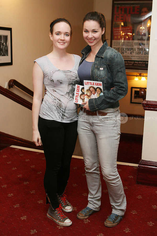 26/8/2010. NO REPRO FEE. Little Gem Opening night.  Jane Mc Grath and Anna Shiela McNamee are pictured at the Olympia Theatre Dublin for the opening night of Little Gem. Hilda Fay makes her return as Lorraine, Anita Reeves continues in the role of Kay, and Genevieve Hulme-Beaman takes on the role of Amber. After sell-out seasons in New York, London and Paris and a sold-out 7-week run at Ireland's National Theatre, Gúna Nua is bringing its bittersweet comedy Little Gem back to Dublin for 10 shows only at The Olympia Theatre from August 26 to September 4, 2010. Love, sex, birth, death, dildos and salsa classes: Elaine Murphy's award winning Little Gem sees three generations of Dublin women on a wild and constantly surprising journey. Picture James Horan/Collins Photos