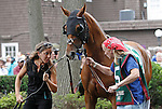 July 21, 2012  Patchattack, trained by Graham Motion, walks in the paddock before competing in the Delaware Handicap at Delaware Park, Stanton, DE. She finished sixth in the race, which was won by Royal Delta. ©Joan Fairman Kanes/Eclipse Sportswire