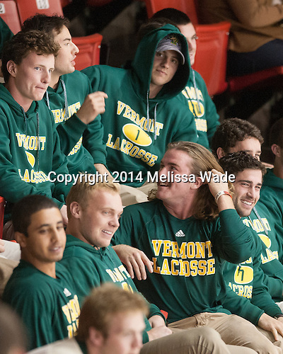 The University of Vermont lacrosse team attended the game in support of the Catamounts while in the area for a tournament on the South Shore. - The visiting University of Vermont Catamounts defeated the Northeastern University Huskies 6-2 on Saturday, October 11, 2014, at Matthews Arena in Boston, Massachusetts.