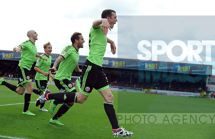Neill Collins of Sheffield United celebrates scoring the opening goal of the game<br /> - English League One - Swindon Town vs Sheffield Utd - County Ground Stadium - Swindon - England - 29th August 2015 <br /> --------------------