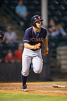 Luke Dykstra (4) of the Rome Braves starts down the first base line during the game against the Hickory Crawdads at L.P. Frans Stadium on May 12, 2016 in Hickory, North Carolina.  The Braves defeated the Crawdads 3-0.  (Brian Westerholt/Four Seam Images)